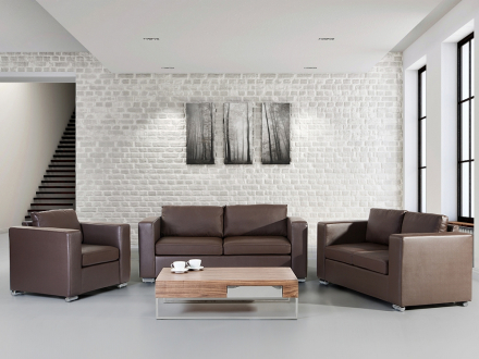 Soffgrupp brun - soffa - fåtölj - soffgrupp i skinn - HELSINKI