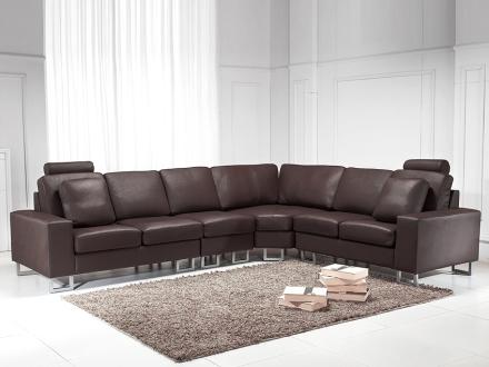 Hörnsoffa brun - soffa - skinnsoffa - lädersoffa - STOCKHOLM