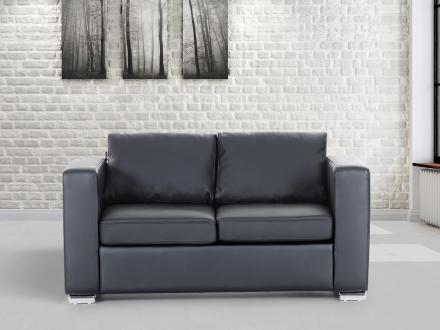 2-sits soffa svart - soffa - skinnsoffa - lädersoffa - HELSINKI