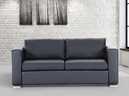3-sits soffa svart - soffa - skinnsoffa - lädersoffa - HELSINKI