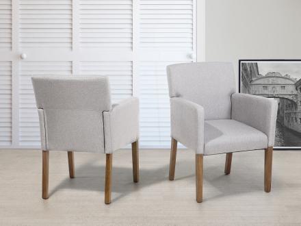Stol ljusgrå - tygstol - matsalsstol - stoppad stol - ROCKEFELLER
