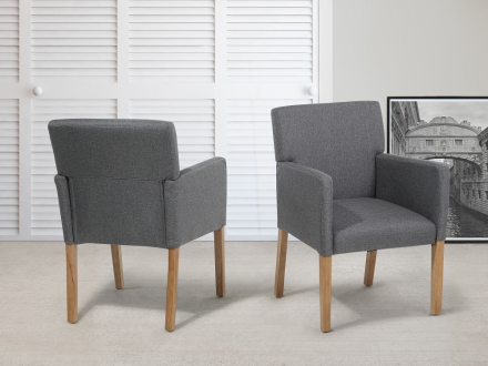 Stol grå - tygstol - matsalsstol - stoppad stol - ROCKEFELLER