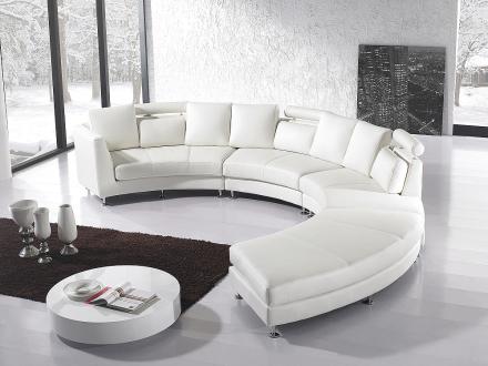 Rund divansoffa vit - soffa - skinnsoffa - lädersoffa - ROTUNDE