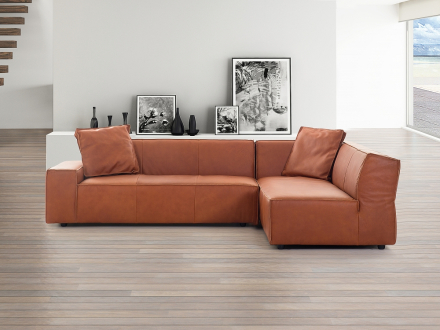 Soffa konjaksbrun - hörnsoffa - skinnsoffa - lädersoffa - ADAM V