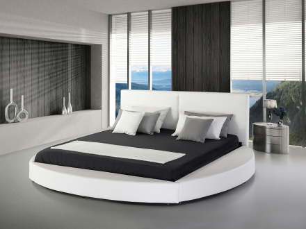 Säng vit - skinnsäng - lädersäng - 180x200 cm - med ribbotten - LAVAL
