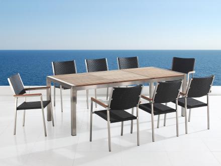 Trädgårdsmöbler i rostfritt stål med träskiva - 220cm - 8 stolar - sits och rygg i konstrotting - GROSSETO