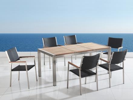 Trädgårdsmöbler i rostfritt stål med trippel träskiva - 180cm - 6 stolar - sits och rygg i konstrotting - GROSSETO