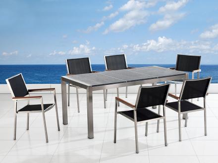 Trädgårdsmöbler i rostfritt stål med trippel grå polerad granitskiva - 180cm - 6 stolar i textil - GROSSETO