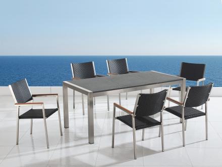 Trädgårdsmöbler i rostfritt stål med trippel grå polerad granitskiva - 180cm - 6 stolar i konstrotting - GROSSETO