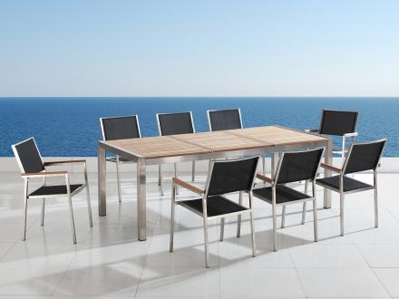 Trädgårdsmöbler i rostfritt stål med träskiva - 220cm - 8 stolar - sits och rygg i textil - GROSSETO