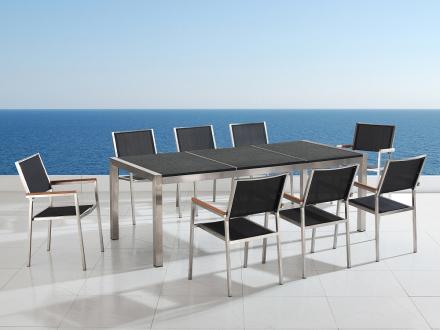 Trädgårdsmöbler i rostfritt stål med svart flammad granitskiva - 220cm - 8 stolar i textil - GROSSETO