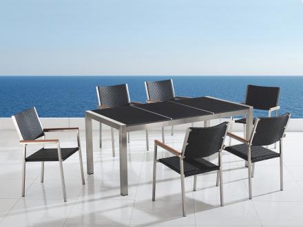 Trädgårdsmöbler i rostfritt stål med svart polerad granitskiva - 180cm - 6 stolar i konstrotting - GROSSETO