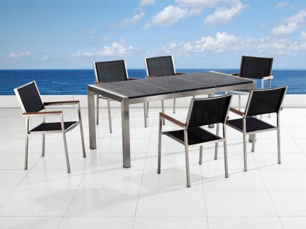 Trädgårdsmöbler i rostfritt stål med svart flammad granitskiva - 180cm - 6 stolar i textil - GROSSETO