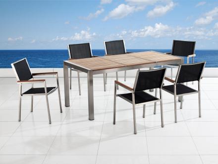 Trädgårdsmöbler i rostfritt stål med trippel träskiva - 180cm - 6 stolar - sits och rygg i textil - GROSSETO