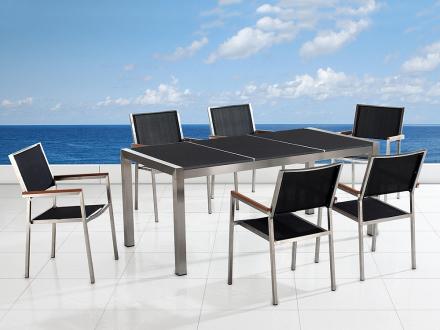 Trädgårdsmöbler i rostfritt stål med svart polerad granitskiva - 180cm - 6 stolar i textil - GROSSETO