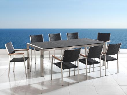 Trädgårdsmöbler i rostfritt stål med svart flammad granitskiva - 220cm - 8 stolar i konstrotting - GROSSETO