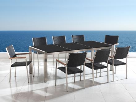 Trädgårdsmöbler i rostfritt stål med svart polerad granitskiva - 220cm - 8 stolar i konstrotting - GROSSETO