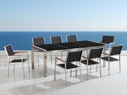 Trädgårdsmöbler i rostfritt stål med svart polerad granitskiva - 220cm - 8 stolar i textil - GROSSETO