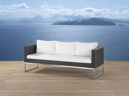 Trädgårdssoffa brun - 3-sits soffa - trädgårdsmöbel - rostfritt stål och konstrotting - CREMA