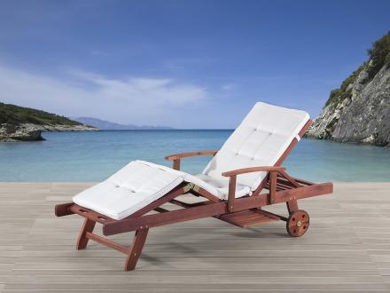 Solstol med dynor i beige - däckstol - trädgårdsmöbel - TOSCANA