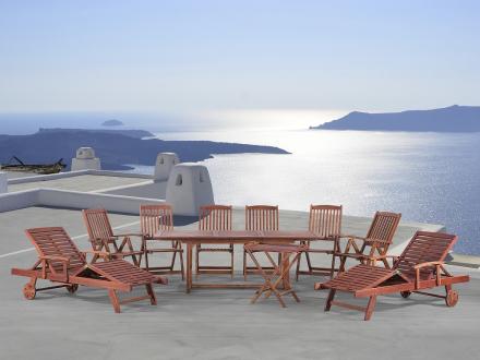 Trädgårdsmöbelset i akacia - trädgårdsmöbel - bord - 2 solstolar - 6 stolar - fikabord - TOSCANA