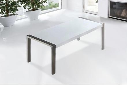 Modernt matbord vit - bord med stativ i rostfritt stål - köksbord - matsalsbord - 220 cm - ARCTIC I