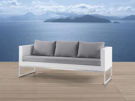 Trädgårdssoffa vit - 3-sits soffa - trädgårdsmöbel - rostfritt stål och konstrotting - CREMA