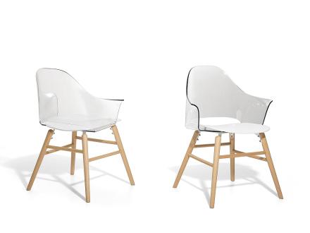 Stol transparent-vit - matsalsstol - vardagsrumsstol - BOSTON