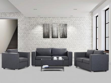 Soffgrupp mörkgrå - soffa - fåtölj - soffgrupp i tyg - HELSINKI