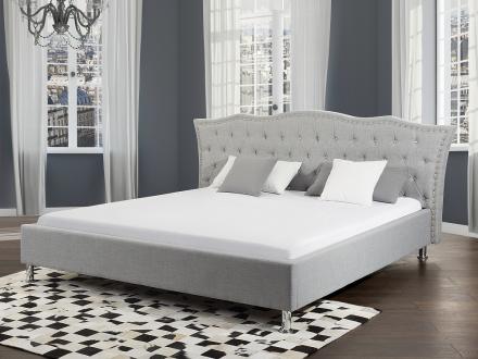 Säng grå - dubbelsäng - stoppad säng med ribbotten - 180x200 - METZ