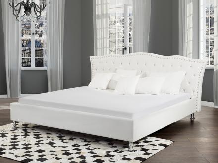 Säng vit med förvaring - dubbelsäng - skinnsäng med ribbotten - 180x200 - METZ