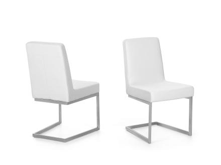 Matsalsstol vit - stol med stativ i rostfritt stål - ARCTIC