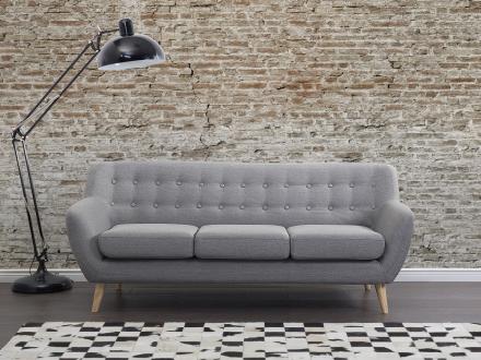 Soffa ljusgrå - tygsoffa - 3-sits soffa - MOTALA