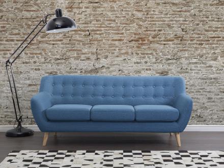 Soffa blå - tygsoffa - 3-sits soffa - MOTALA