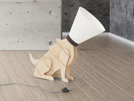Bordslampa - golvlampa - hund - belysning - ISNA