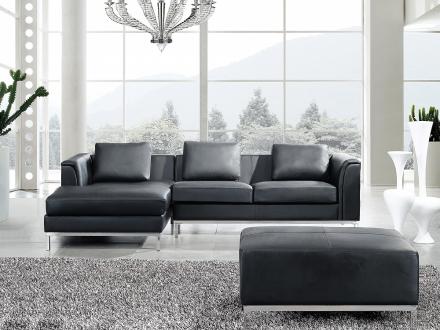 Hörnsoffa svart H - soffa med schäslong och ottoman - skinnsoffa - lädersoffa - OSLO