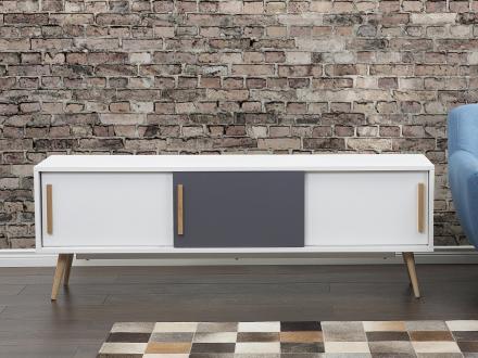 TV-bänk vit - skåp - sidobord - skänk - INDIANA