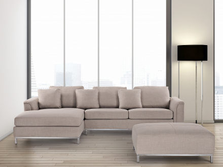 Hörnsoffa beige H - soffa med schäslong och ottoman - tygsoffa - OSLO