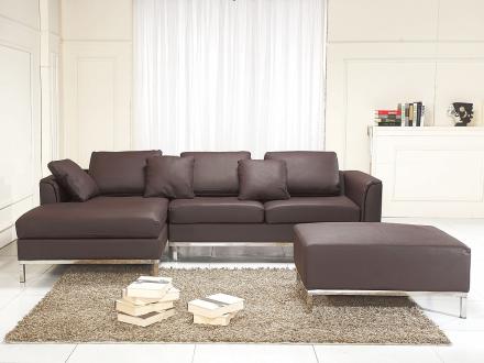 Hörnsoffa brun H - soffa med schäslong och ottoman - skinnsoffa - lädersoffa - OSLO