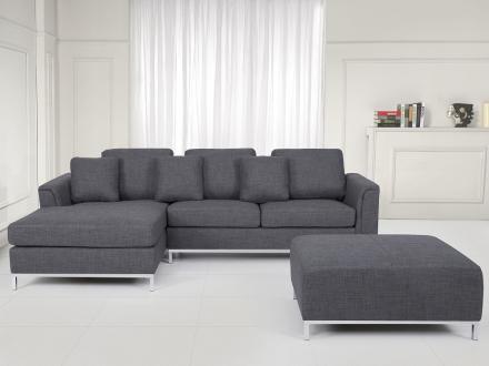Hörnsoffa grå H - soffa med schäslong och ottoman - tygsoffa - OSLO