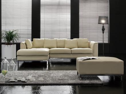 Hörnsoffa beige H - soffa med schäslong och ottoman - skinnsoffa - lädersoffa - OSLO