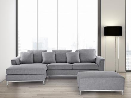 Hörnsoffa H ljusgrå - soffa med schäslong och ottoman - tygsoffa - OSLO