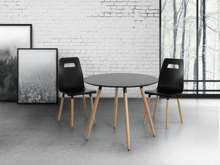 Matbord svart - köksbord - 90 cm - matsalsbord - BOVIO