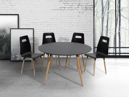 Matbord svart - köksbord - 120 cm - matsalsbord - BOVIO