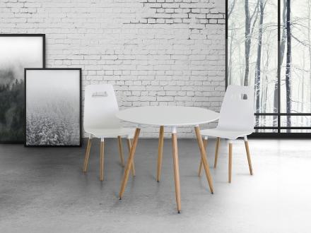 Matbord vit - köksbord - 90 cm - matsalsbord - BOVIO