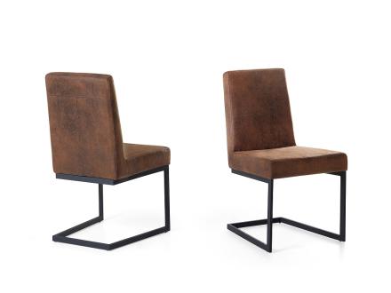 Matsalsstol brun - stol med svart stativ i rostfritt stål - ARCTIC