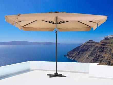 Parasoll mocca - trädårdsparasoll - UV resistent solskydd av metall - 297x297 cm - MONZA
