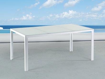 Aluminiumbord - trädgårdsbord - 160 cm - trädgårdsmöbler - vit - CATANIA