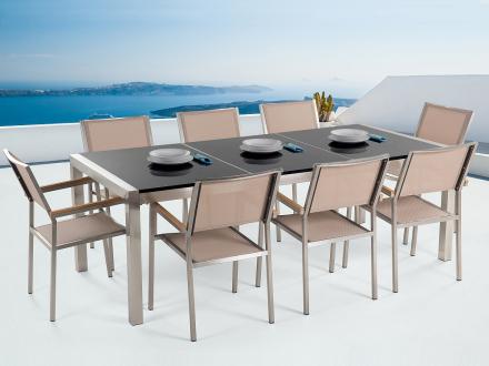 Trädgårdsmöbler i rostfritt stål med svart polerad granitskiva - 220cm - 8 beige stolar i textil - GROSSETO