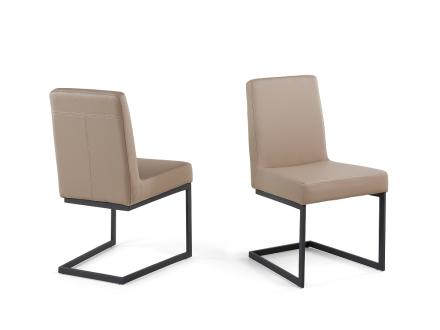 Matsalsstol kaffe latte - stol med svart stativ i rostfritt stål - ARCTIC